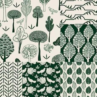 Patrón de la naturaleza con la mano pintada estilo.