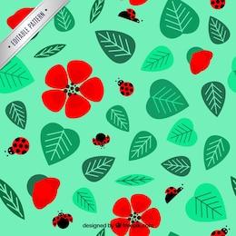 Patrón de mariquitas y flores