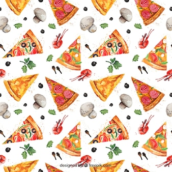 Patrón de pizza de acuarela