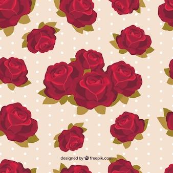 Patrón de rosas con fondo de lunares