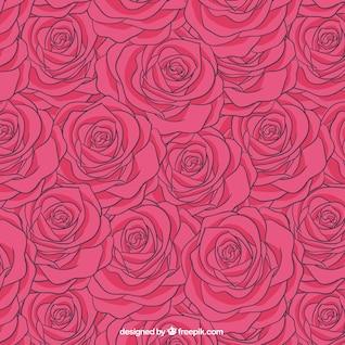 Patrón de rosas en tono rosa fuerte