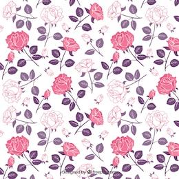 Patrón de rosas en tonos rosa y morado