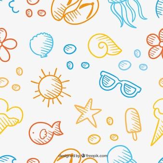 Patrón de verano estilo dibujado a mano