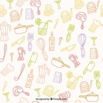 Patrón dibujado a mano herramientas de cocina