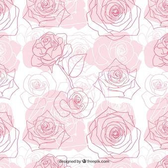 Patrón dibujado a mano rosas
