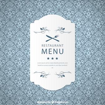 Patrón restaurante ornamental con etiqueta