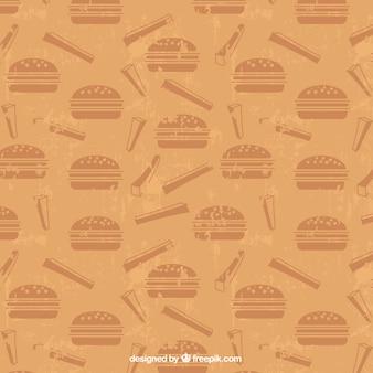 Patrón retro con hamburguesas