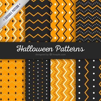 Patrones de halloween rayados y punteados