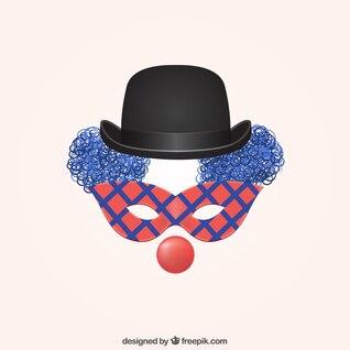 Payaso con máscara de carnaval