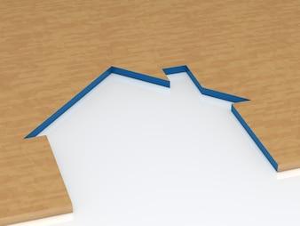 Pedazo de madera con la silueta de casa