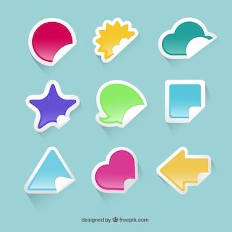Pegatinas de colores en diferentes formas