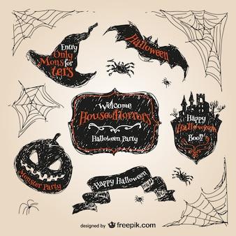 Pegatinas de Halloween dibujadas a mano