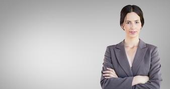 Pelo corto gris exitosos compañeros de trabajo corporativos