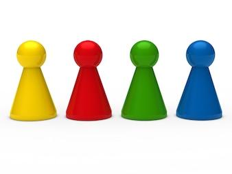 Peones del ajedrez de colores colocados en fila