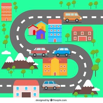 Pequeña ciudad plana con una carretera de curvas