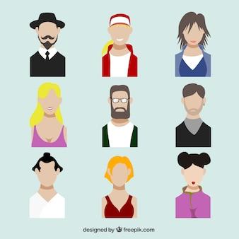 Perfiles avatares en diseño plano