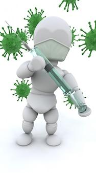 Personaje 3d con bacterias verdes