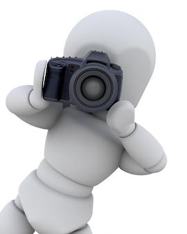 Personaje 3d con una cámara de fotos