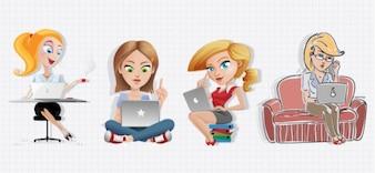 Personaje de dibujos animados mujeres con ordenador portátil
