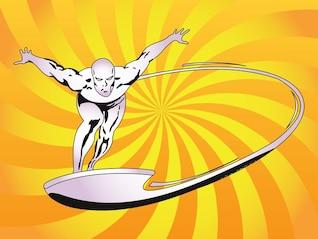 personaje de dibujos animados Silver surfer vector