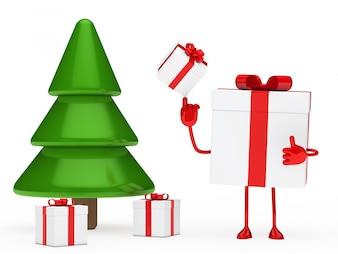Personaje jugando junto a un árbol de navidad