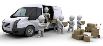 Personajes 3d con cajas y una furgoneta