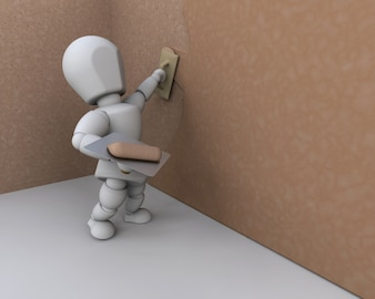 Personajes 3d trabajando en una pared