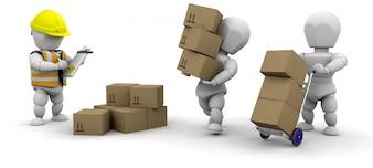 Personajes 3d transportando cajas