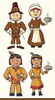 Personajes de dibujos animados ilustración indias