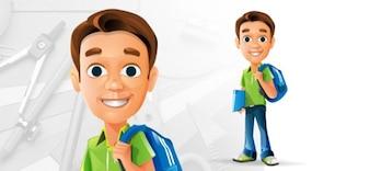 Personalidad del estudiante. muchacho con el bolso y el libro.