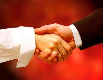 Personas elegantes dándose un apretón de manos