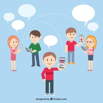 Personas que usan aparatos de tecnología