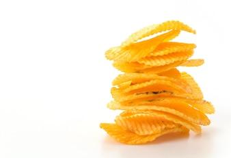 Pila de bocadillos fritos preparados chips