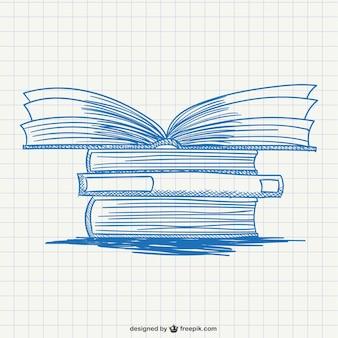 Pila de libros dibujada