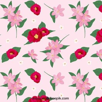 Patrón de flores rosas y rojas