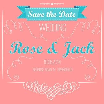 Invitación de boda retro en dos colores