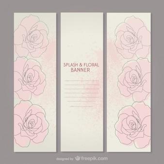 Conjunto de banners con dibujos de rosas