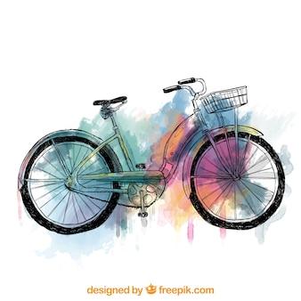 Pintada a mano bicicleta retro