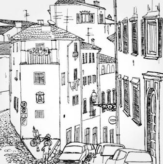Pintado a mano de la ciudad vector