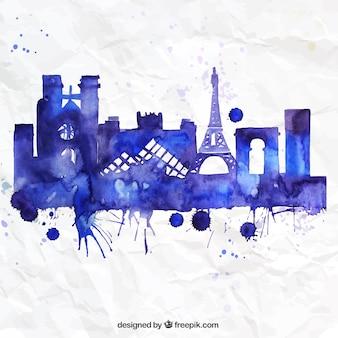 Pintado a mano horizonte de Paris