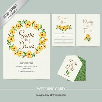 Pintado a mano invitación de boda con marco floral