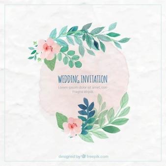 Pintado a mano invitación de boda