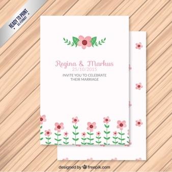 Pintado a mano invitación floral de boda