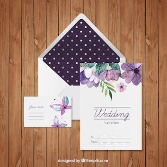 pintado a mano la invitación floral de la boda