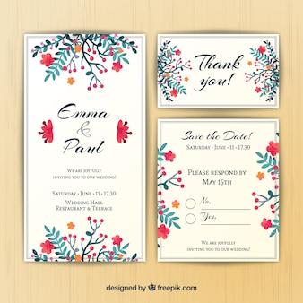 Pintado a mano la tarjeta floral de la boda