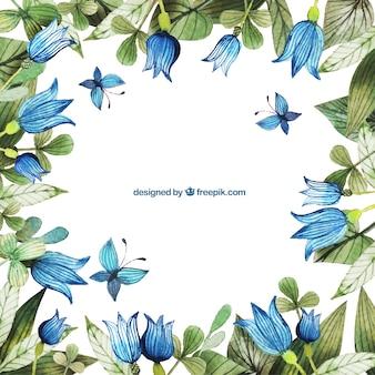 Pintado a mano marco flores azules