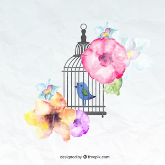 Pintado a mano pájaro en una jaula