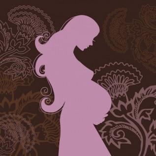 pintado a mano vector mujer embarazada silueta