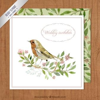 Pintados a mano, tarjeta de boda
