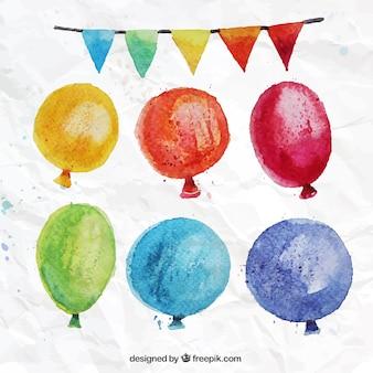Pintados a mano coloridos globos